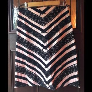 Anthro Persaman Cotton Pink Black Lace Skirt Sz 2